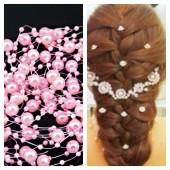 1 шт. Розовый цвет. Жемчужная нить для украшения волос
