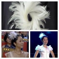 TY-1. Белый цвет. Заколка из перьев птиц для волос
