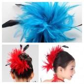 TY-4. Голубой цвет. Заколка из перьев птиц для волос