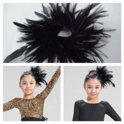 TY-2. Черный цвет. Заколка из перьев птиц для волос