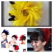 TY-6. Желтый цвет. Заколка из перьев птиц для волос