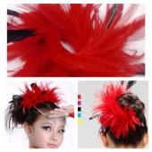 TY-3. Красный цвет. Заколка из перьев птиц для волос