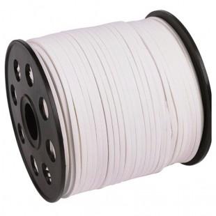 Белый цвет. Замшевый плоский шнур.3 мм  100 м