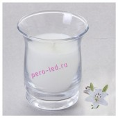 6.5х6.5х7.7 см. Лилия. Свеча ароматическая в стеклянном стакане.