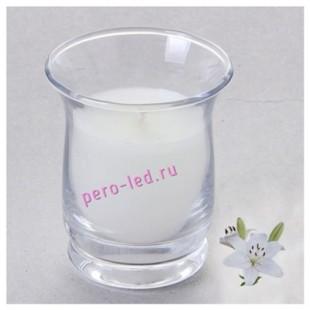 6.5х6.5х7.7 см. Лилия. Свеча ароматическая в стеклянном стакане