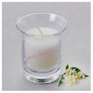 6.5х6.5х7.7 см. Жасмин. Свеча ароматическая в стеклянном стакане.