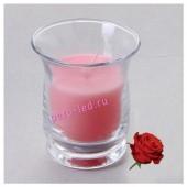 6.5х6.5х7.7 см. Роза. Свеча ароматическая в стеклянном стакане.