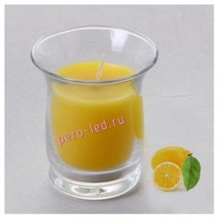 6.5х6.5х7.7 см. Лимон. Свеча ароматическая в стеклянном стакане