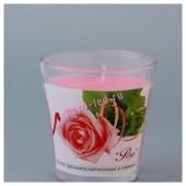 6.5х6.5х6.5 см. Роза. Свеча ароматическая в стекле.