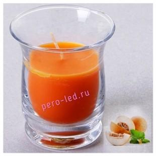 6.5х6.5х7.7 см. Дыня. Свеча ароматическая в стеклянном стакане.