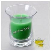 6.5х6.5х7.7 см. Зеленый чай. Свеча ароматическая в стеклянном стакане.