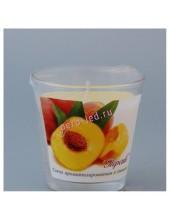 6.5х6.5х6.5 см. Персик. Свеча ароматическая в стекле.
