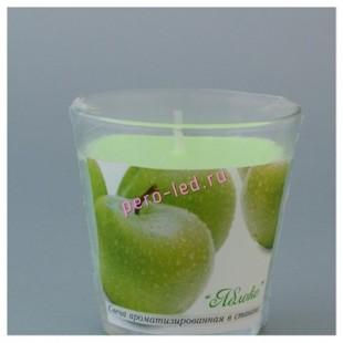 6.5х6.5х6.5 см. Яблоко. Свеча ароматическая в стекле.