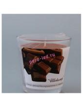 6.5х6.5х6.5 см. Шоколад. Свеча ароматическая в стекле.