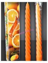 2 шт. Апельсин. Свеча ароматические витые. 2 см X 2 см X 25 см
