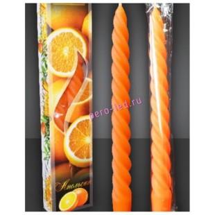 Свеча классическая 2 шт витая в коробке ароматические.Апельсин.2смX2смX25см