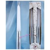 2 шт. Бело-серебро цвет. Свеча классическая в коробочке.  23 мм х 23 мм х 250 мм