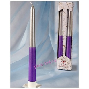 2 шт. Серебристо-голубой цвет. Свеча классическая в коробочке.  23 мм х 23 мм х 250 мм