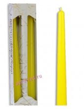 2 шт. Желтый цвет. Свеча классическая в коробочке . 2 см х 2 см х 25 см