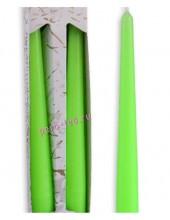 2 шт. Зеленый цвет. Свеча классическая в коробочке . 2 см х 2 см х 25 см