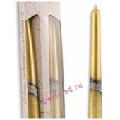 2 шт. Золотой цвет. Свеча классическая в коробочке.  23 мм х 23 мм х 250 мм