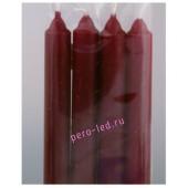 4 шт. Бордо цвет. Свеча классическая. 19 мм х 19 мм х 175 мм