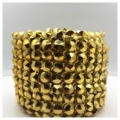1 м. Золото цвет. Металлическая тесьма 10 см. Стразы. ХА-1