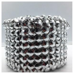 1 м. Серебро цвет. Металлическая тесьма 10 см. Стразы. ХА-2