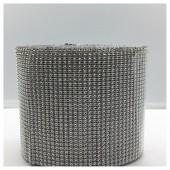 1 м. Серебро цвет. Металлическая тесьма 12 см. Стразы. МА-2