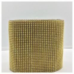 1 м. Золото цвет. Металлическая тесьма 12 см. Стразы. МА-1