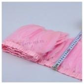 1 м. Розовый цвет. Тесьма. Перья петуха на ленте 14-19 см.
