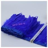 1 м. Синий цвет. Тесьма. Перья петуха на ленте 14-19 см.