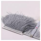 1 м. Серый цвет. Тесьма из перьев страуса 10-15 см